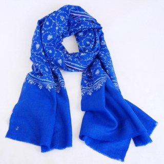 カシミヤ 手織り ストール|一品モノ|ジャアリ 手刺繍 パシュミナ|生地:ブルー(青)|刺繍:青色/ピンク色