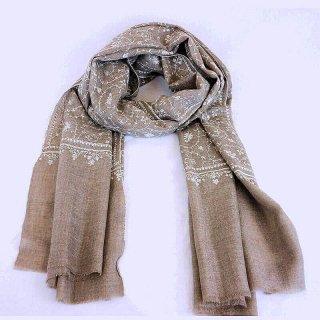 カシミヤ 手織り ストール|一品モノ|ジャリ 手刺繍 パシュミナ|生地:ネイチャー|刺繍:クリーム色