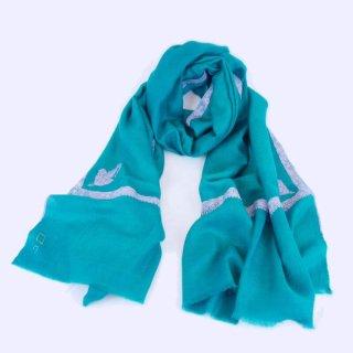 カシミヤ 手織り ストール|一品モノ|ボーダー 手刺繍 パシュミナ|生地:ターコイズグリーン|刺繍:ピンク色(2種)/紫色