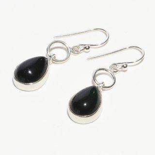 オニキス SV925|漆黒の輝き|雫型 フックピアス ハンドメイド|Afghan Earring(アフガン イヤリング)