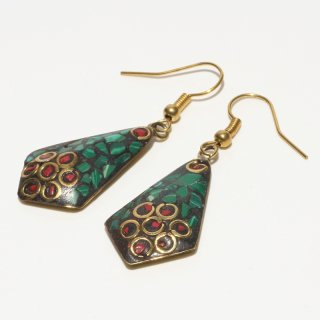 ひし形アフガントラディショナルデザインピアス|グリーン&オレンジ 真鍮製 フックピアス|ハンドメイド|Afghan Earring