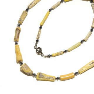 Afghan Necklace(アフガンネックレス)|ローマングラス|ローマ帝国のアンティーク|イエロー|20inch|515mm ◇手作り ハンドメイド◇天然石