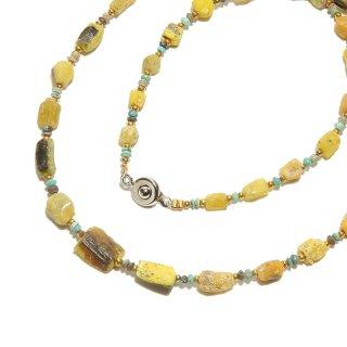 Afghan Necklace(アフガンネックレス)|ローマングラス|ローマ帝国のアンティーク|イエロー|18inch|475mm ◇手作り ハンドメイド◇天然石