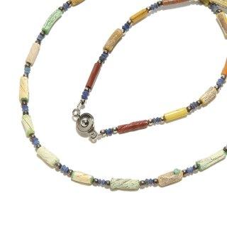 Afghan Necklace(アフガンネックレス)|ローマングラス|ローマ帝国のアンティーク|マルチカラー|18inch|465mm  ◇手作り ハンドメイド◇天然石