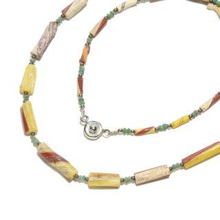 Afghan Necklace(アフガンネックレス)|ローマングラス|ローマ帝国のアンティーク|マルチカラー|19inch|493mm ◇手作り ハンドメイド◇天然石