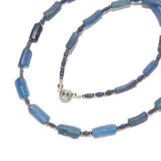 Afghan Necklace(アフガンネックレス)|ローマングラス|ローマ帝国のアンティーク|スカイブルー|19inch|490mm ◇手作り ハンドメイド◇天然石