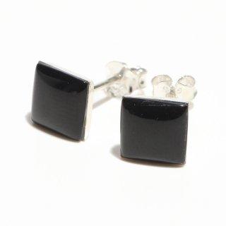 ブラック オニキス|四角型 スタッドピアス|天然石 ハンドメイド|Shell&Stone|