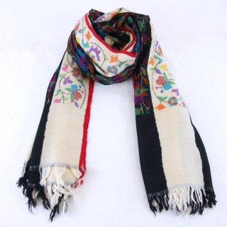 カニ織 ジャマワール ショール|カシミヤ 手織り パシュミナ|カシミール|ホワイト&ブラック