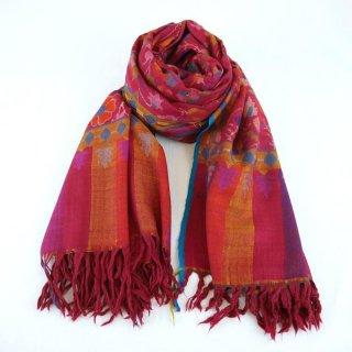 カニ織 ジャマワール ショール|カシミヤ 手織り パシュミナ|カシミール|小豆色(マルーン)