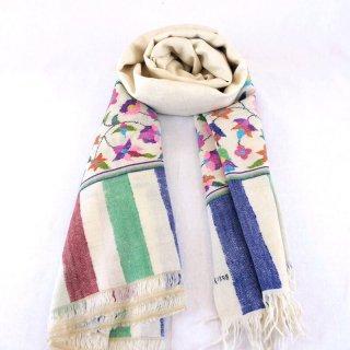 カニ織 パルダール ショール|カシミヤ 手織り パシュミナ|カシミール|アイボリー