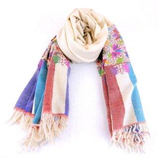 カニ織 パルダール ショール|カシミヤ 手織り&手刺繍 パシュミナ|カシミール|アイボリー|刺繍糸(1色)赤色