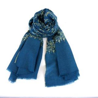 カシミヤ 手織り ストール|ジャアリ 手刺繍 パシュミナ|生地:ターコイズブルー|刺繍(1色):クリーム色