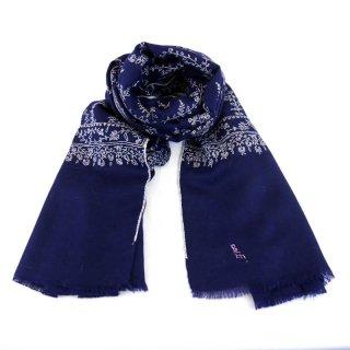 カシミヤ 手織り ストール|ジャアリ 手刺繍 パシュミナ|生地:紺|刺繍(1色):白色