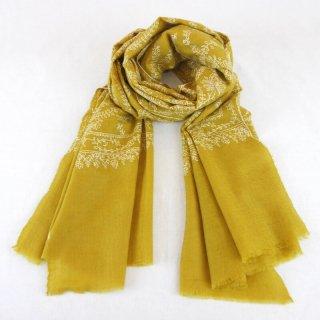 カシミヤ 手織り ストール|ジャアリ 手刺繍 パシュミナ|生地:マスタードイエロー|刺繍(1色):白色
