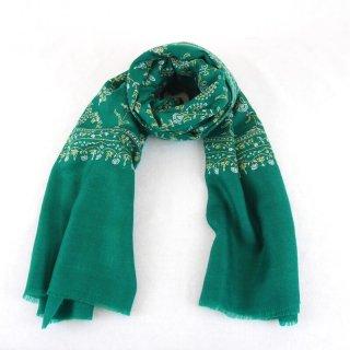 カシミヤ 手織り ストール|ジャアリ 手刺繍 パシュミナ|生地:グリーン|刺繍(3色):白色/黄色/オレンジ色