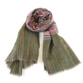 KATIE◇手織り◇カシミヤ/パシュミナ100%|ストール|IKAT(絣)|グリーン系マルチカラー