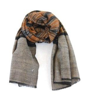 KATIE◇手織り◇カシミヤ/パシュミナ100%|ストール|IKAT(絣)|ネイチャー系虎柄カラー