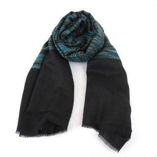 KATIE◇手織り ストール◇カシミヤ/パシュミナ100%|IKAT(絣)|ブラック/ブルー