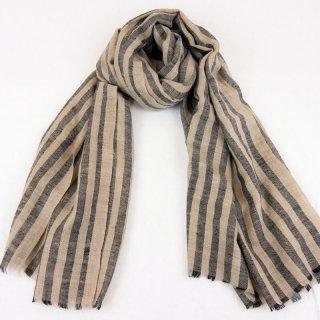 DARIA◇手織り◇カシミヤ/パシュミナ100%|ストール|ストライプ|ネイチャー/ブラック