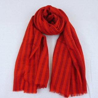 DARIA◇手織り◇カシミヤ/パシュミナ100%|ストール|ストライプ|レッド/ブラック