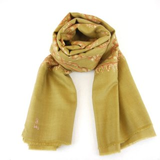 カシミヤ 手織り ショール|ソズニ ジャマワール刺繍 手刺繍 パシュミナ|生地:カーキカラー|刺繍糸(4色):ピンク/エンジ/黄色/緑