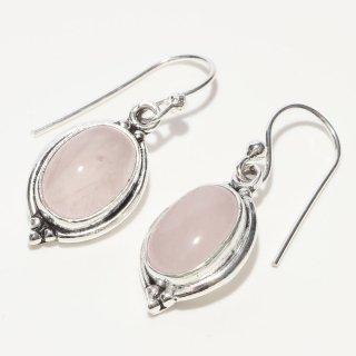 オーバルピンクカルセドニー SV925|天然石 フックピアス|ハンドメイド|Afghan Earring