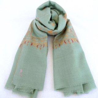 カシミヤ 手織り ショール|ソズニ刺繍 ジャマワール ブッティダール|手刺繍 パシュミナ|生地:ピーコックグリーン|刺繍糸(5色)