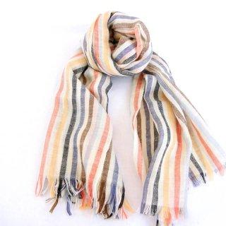 ALICE|手織り カシミヤ/パシュミナ100%|ストール|ストライブ|オフホワイト/黄色系マルチカラー