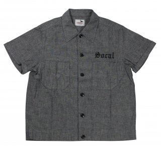 GANGSTERVILLE [-SOCAL - S/S SLICK SHIRTS- GRAY size.S,M,L,XL]