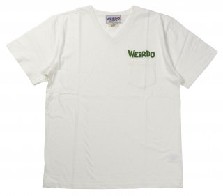 WEIRDO [-WEIRDO DAILY - S/S V-NECK T-SHIRTS- WHITE×GREEN size.S,M,L,XL]
