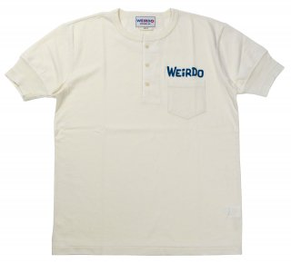 WEIRDO [-WEIRDO DAILY - S/S HENRY NECK T-SHIRTS- WHITE×BLUE size.S,M,L,XL]