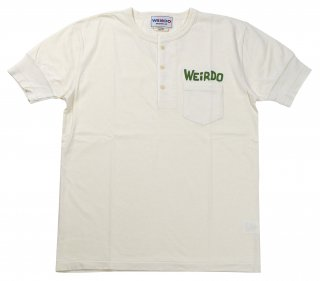 WEIRDO [-WEIRDO DAILY - S/S HENRY NECK T-SHIRTS- WHITE×GREEN size.S,M,L,XL]