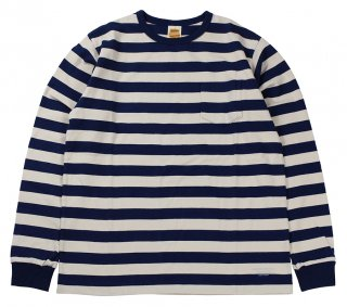 TROPHY CLOTHING [-Mid Border L/S Tee- Navy size.36,38,40,42]
