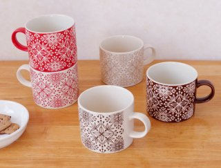 Flower mosaic mug / フラワーモザイク マグカップ
