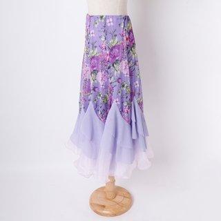 パープルフラワーふんわりスカート