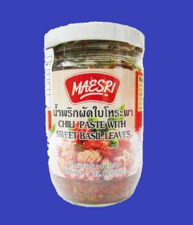CHILLI PASTE WITH SWEET BASIL LEAVES (MAESRI) チリペースト瓶スウィートバジル味 200g