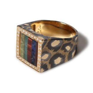 Mariangela ring K18【tiger's eye, sodalite, aventurine quartz, carnelian, onyx】