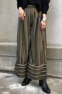 Retro striped wide pants