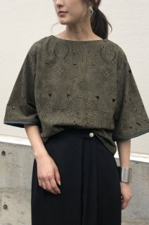 Heat cut suede blouse