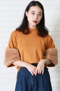 Fur sleeve pullover