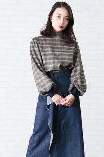 High neck check blouse