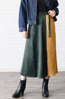 Bicolor pleated skirt