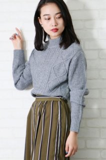 Cable×Feather tunic knit