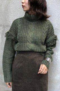 Cable fringe knit