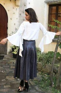 Fake leather pleated skirt