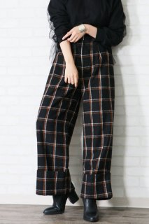 Check detail wide pants