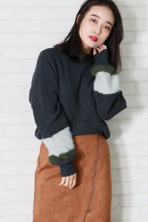 Cuff Shaggy knit pullover