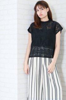 Stripe lace french blouse