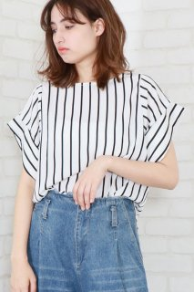 Stripe tucksleeve french blouse