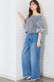 Wide stripe off shoulder blouse
